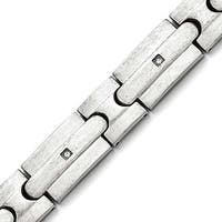 Chisel Stainless Steel Brushed CZs Bracelet