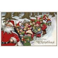 Christmas Greeting Santa Helpers Vintage Holiday (100% Cotton Towel Absorbent)