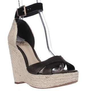 Vince Camuto Maurita Ankle Strap Wedge Sandals - Black/Gold/Natural