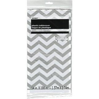 """Plastic Tablecover 54""""X108""""-Silver Chevron - silver chevron"""