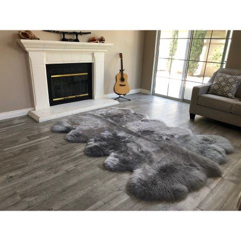 "Dynasty 10-Pelt Luxury Long Wool Sheepskin Grey Shag Rug - 5'5"" x 8'6"""
