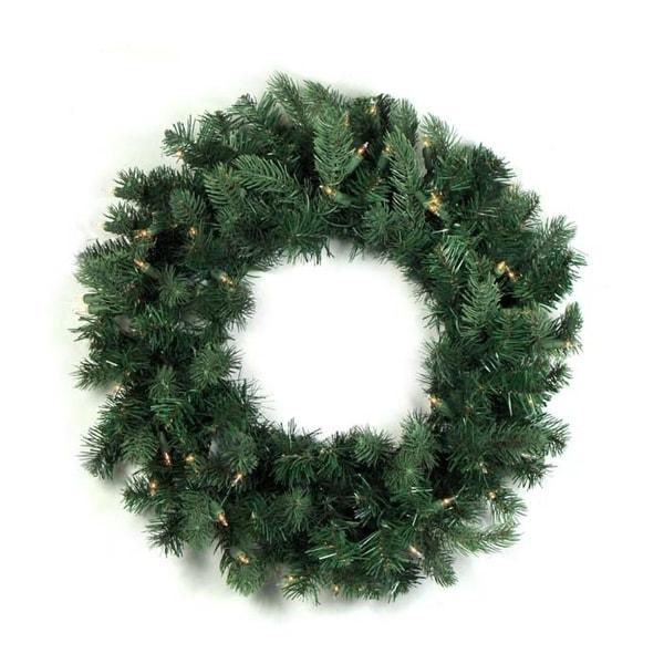 """24"""" Pre-lit Natural Frasier Fir Artificial Christmas Wreath - Clear Lights - green"""