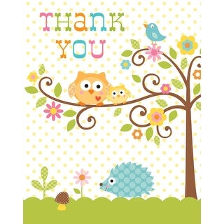 """Club Pack of 96 Happi Tree Girl Baby Shower Party """"Thank You"""" Notes"""
