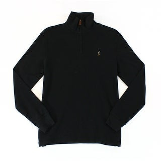 Polo Ralph Lauren NEW Black Mens Size Medium M Solid 1/2 Zip Sweater
