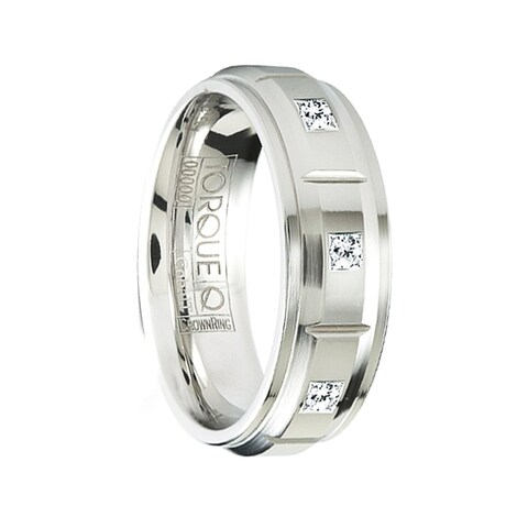 KABAL Grooved Raised Center Cobalt Wedding Ring with Diamonds & Step Edges by Crown Ring - 7mm