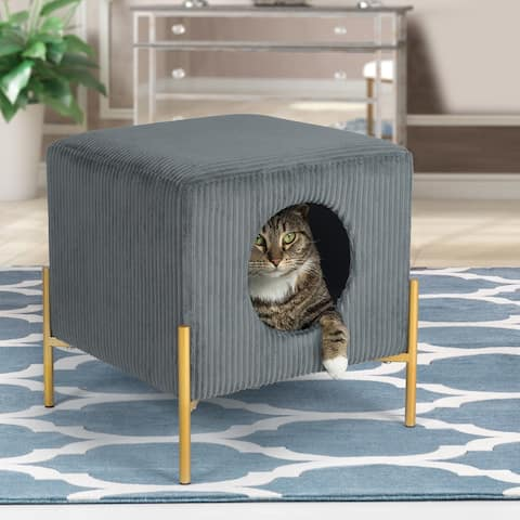 Adeco Modern Cat Condo Ottoman Pet House with Removable Padding