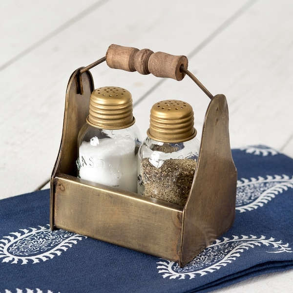 Tiny Toolbox Salt and Pepper Caddy - Antique Brass - Pack of 2