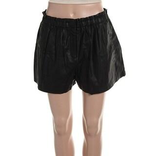 Zara Womens Faux Leather High Waist Dress Shorts