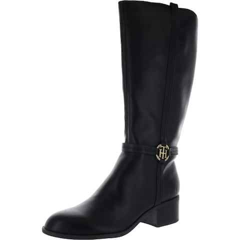 Tommy Hilfiger Womens Diwan2 Knee-High Boots Faux Leather Logo - Black Multi Leather