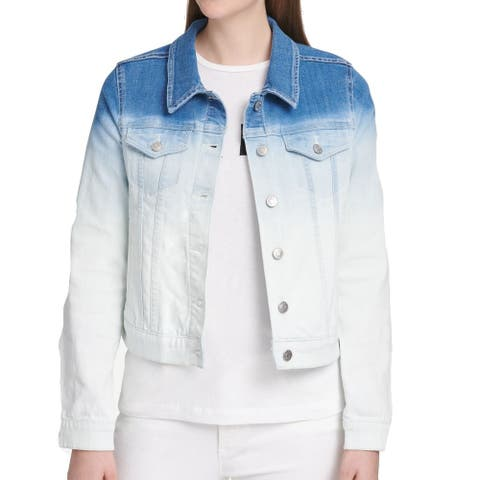 DKNY Womens Denim Jacket Blue White Size Small S Ombre Button Front