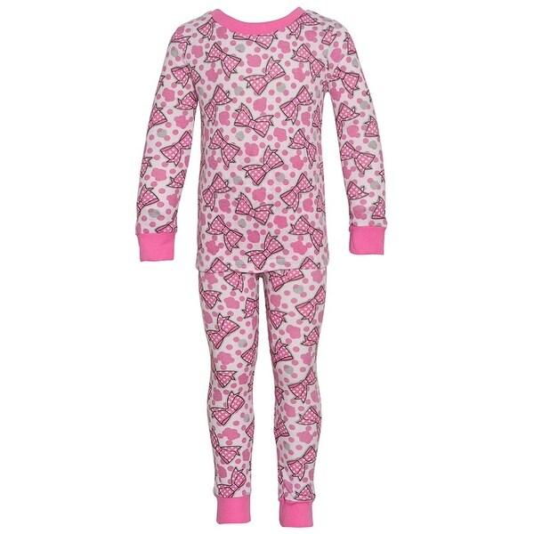 Mon Petit Baby Girls Pink Bow Dot Print Long Sleeve 2 Pc Pajama Set 12M