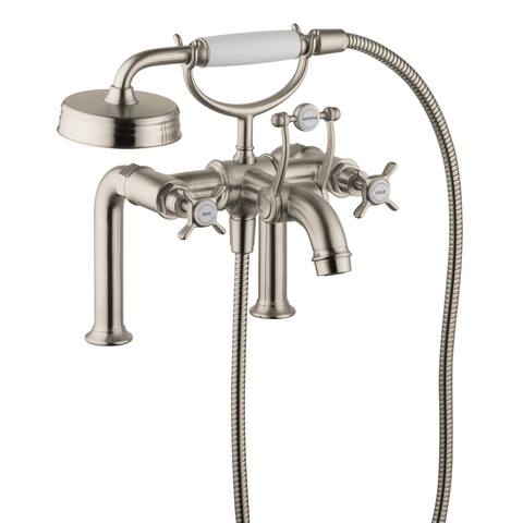 Axor 16542 Montreux Deck Mounted Roman Tub Filler with Diverter, Metal Cross Handles and 2.5 GPM Single Function Hand Shower
