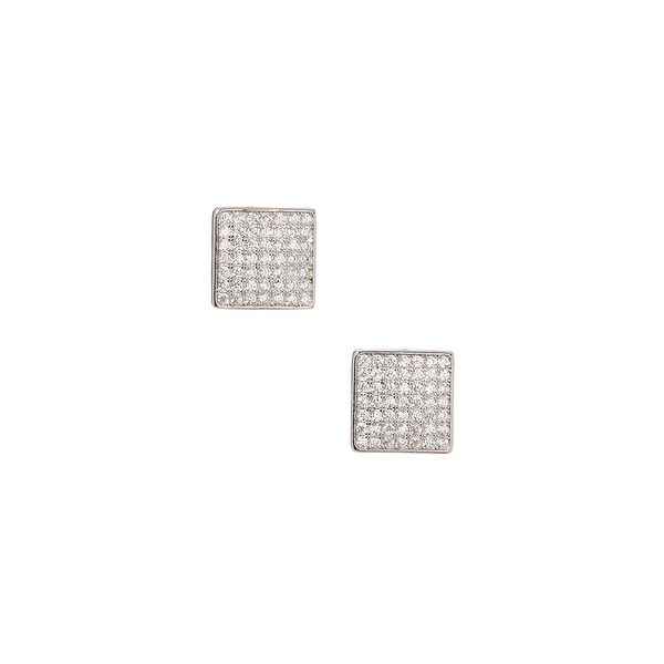 925 Sterling Silver Square Stud Earrings with Cubic Zirconia