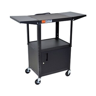 Offex Adjustable Height Multipurpose Steel AV Rolling Utility Cart Cabinet - Black with Drop Leaf