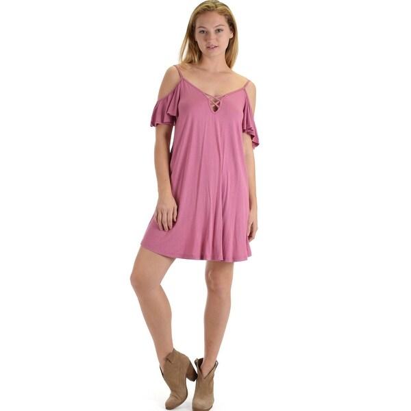 Shop mauve pink half sleeve off shoulder shift dress with crisscross  spaghetti detail sl417 Mauve-Medium - Free Shipping On Orders Over  45 -  Overstock.com ... cb7c1cb0e894