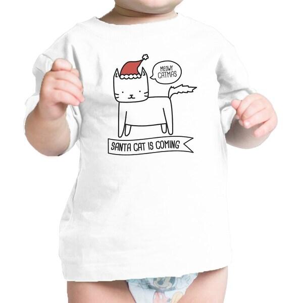 Meowy Catmas Santa Cat Funny Baby Tee Shirt Funny Baby Shower Gift