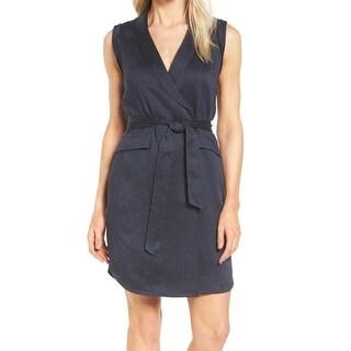 Classiques Entier Blue Women's Size 14 Curved-Hem Wrap Dress