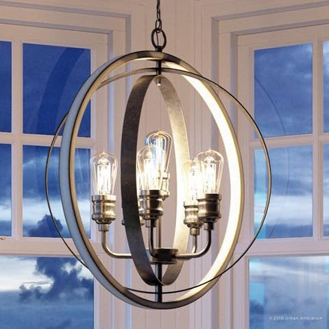 """Luxury Vintage Pendant Light, 30.75""""H x 28""""W, with Modern Farmhouse Style, Galvanized Steel Finish by Urban Ambiance"""