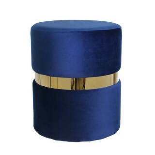 Contemporary Velvet Upholstered Round Ottoman, Blue and Gold