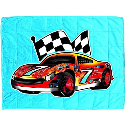Bell&Howell Race Car Kids Weighted Blanket 7lb with Glass Bead Fill