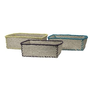 """Set of 3 Red, Black and Blue Trimmed Woven Storage Baskets - 16"""""""