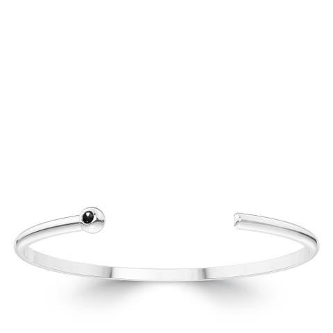Black Diamond Cuff Bracelet In Sterling Silver