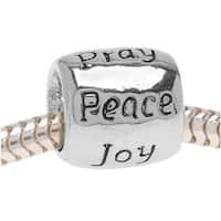 Silver Tone European Style Large Hole Message Bead Love Faith Pray Peace Joy Hope - (1)