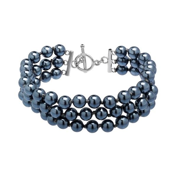 Multi-Strand Grey Freshwater Pearl Bracelet in Sterling Silver