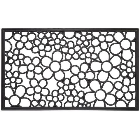 "Envelor Floral Wrought Iron Rubber Entrance Mat Welcome Doormat, 18"" x 30"""