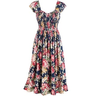 Women's Blooming Roses Print Sundress - Cap Sleeves - 48' Long