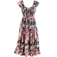 Women's Blooming Roses Print Sundress - Cap Sleeves - 48' Long