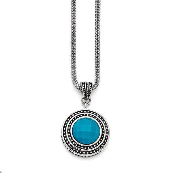 Chisel Stainless Steel Imitation Turquoise/Antiqued with 2in ext. Necklace (2 mm) - 18 in