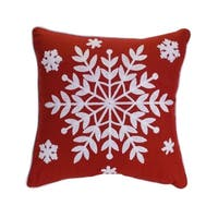 """Set of 2 White and Red Snowflake Printed Decorative Christmas Throw Pillow 15"""""""