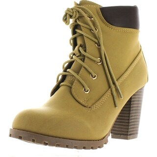 Womens Rugged Lace Up Stacked High Heel Ankle Boots - Camel - 8.5 b(m) us