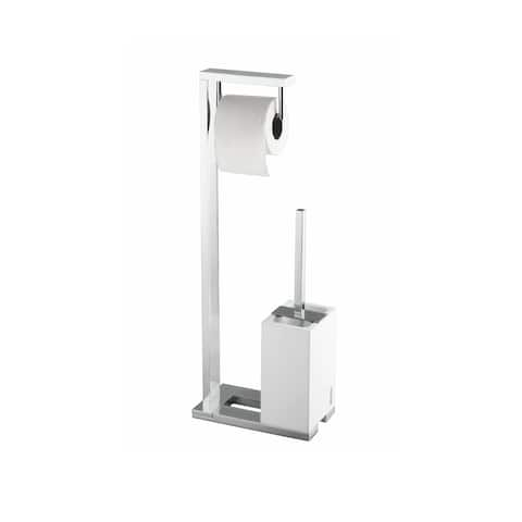 WS Bath Collections Demetra 1901 Modern Free Standing Tissue Holder and Toilet Brush Holder Set from the Demetra Collection