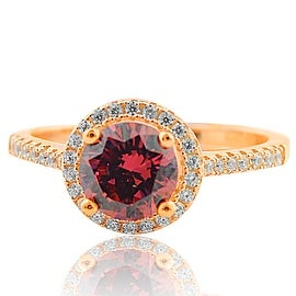 Ladies Fashion Ring Halo Style Purple CZ Center Rose Gold-Tone Silver By MidwestJewellery