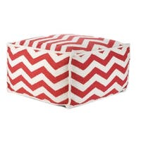 Vivai Home Red Chevron Rectangle 24x 24x13 Wool Cotton Ottoman Cushion