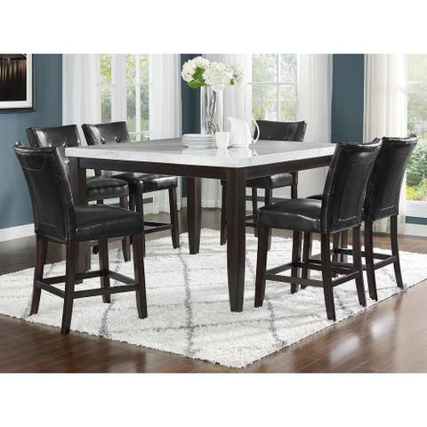 Fairfax White Marble Squre 7PC Ctr Height Dining Set by Greyson Living