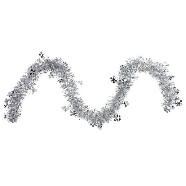 50' Traditional Silver Christmas Tinsel Garland with Shiny Snowflakes - Unlit