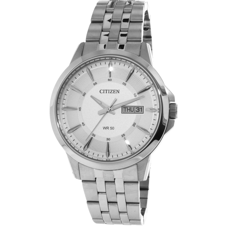 Citizen Men S Silver Stainless Steel Japanese Quartz Dress Watch Overstock 21907699
