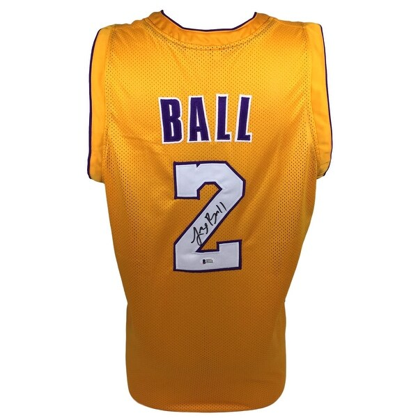 info for 32bca 8a712 Lonzo Ball Signed Custom Yellow Basketball Jersey BAS