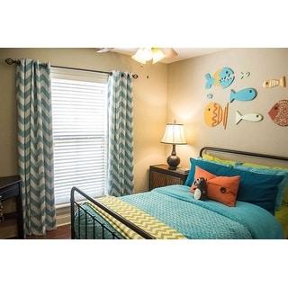 Aurora Home Room Darkening Chevron Print Grommet Top 84-inch Curtain Panel (Pair) - 52 x 84