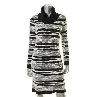 Calvin Klein Womens Cowl-Neck Striped Sweaterdress - M