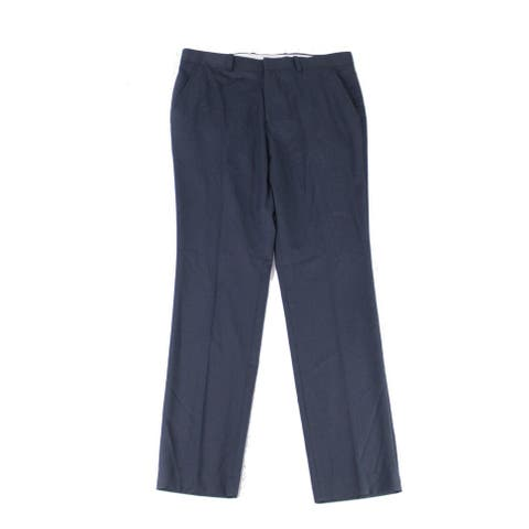 Alfani Mens Chino Pants Blue Size 40x30 Flat Front Sateen Twill Stretch