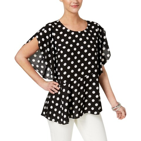 NY Collection Womens Pullover Top Cape Sleeve Asymmetrical Hem