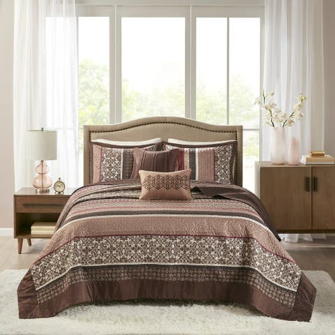 Madison Park Dartmouth Red 5-piece Jacquard Bedspread Set