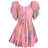 Funfash Plus Size Top Pink Peacock Empire Waist Women's Shirt Blouse