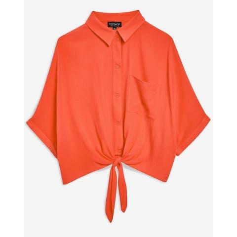 TopShop Coral Orange Women's Size 2 Tie Hem Button Down Shirt