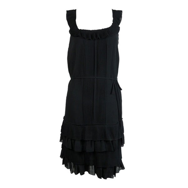 b5c63eee3c94 Shop Susana Monaco Women s Accordian Tiered Belted Silk Dress - Black - 2 -  On Sale - Free Shipping On Orders Over  45 - Overstock.com - 23447833