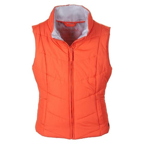Aeropostale Womens Solid Chevron Zip Up Puffer Vest